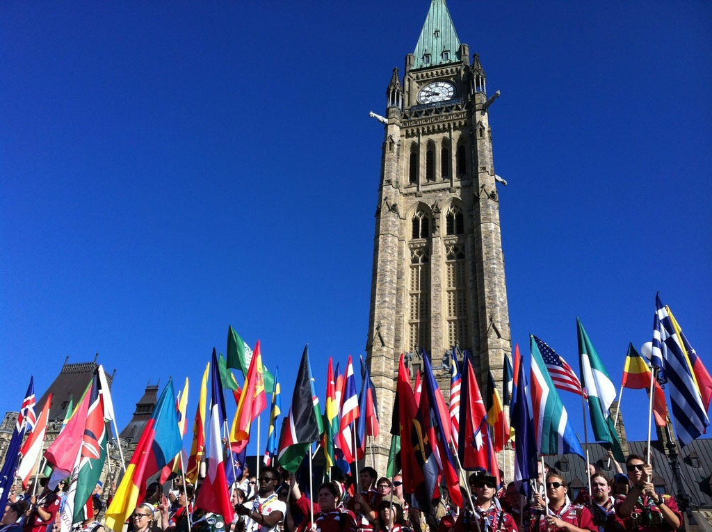 Peace Tower and flags image