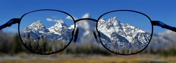 Glasses and Clear Vision of Mountains image
